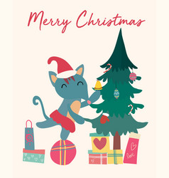 Christmas card cute fox on gift box with tree vector