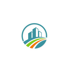 Cityscape building construction logo vector