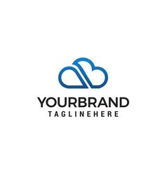 cloud line letter ab logo designs template vector image