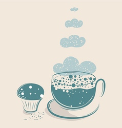 cloudy coffee with muffin vector image