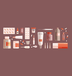 collection of medical tools and medications vector image