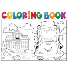 Coloring book school bus theme 8 vector
