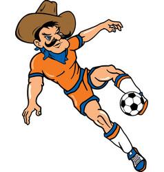 cowboy sports soccer logo mascot vector image