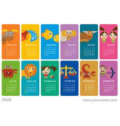 Creative wall calendar 2020 with signs zodiac vector