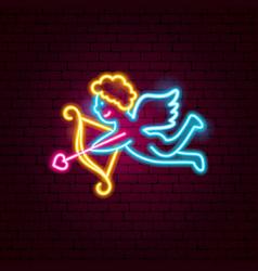 Cupid neon sign vector
