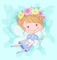 Cute cartoon tooth fairy with magic wand and tooth vector