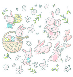 Cute girly hand drawn cute bunnies and flowers vector