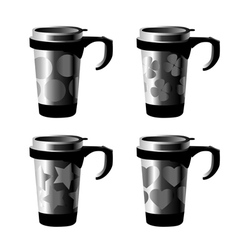 decorated metal cup vector image vector image