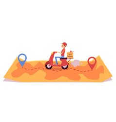 delivery man on scooter riding over map and vector image