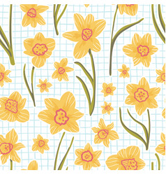 Doodle style coloring book style yellow daffodils vector