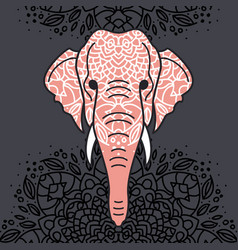 elephant head with a floral ornament vector image