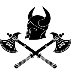 Fantasy barbarian helmet with axes stencil vector