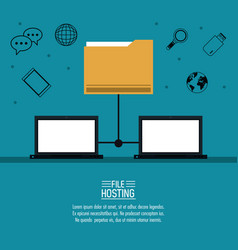 file hosting technology vector image