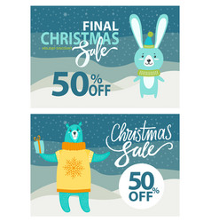 Final christmas sale set on vector