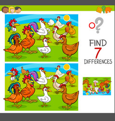 Find differences game with chickens animal vector