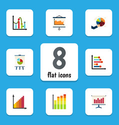 flat icon diagram set of monitoring chart vector image