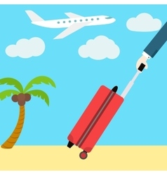 flat web banner Go on vacation Man with a vector image