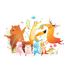 Forest animals dancing party funny bear fox moose vector