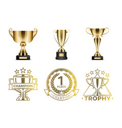 gold goblets and round emblems for winners diploma vector image