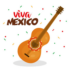 guitar instrument viva mexico poster vector image
