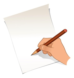 Hand with pencil and paper vector