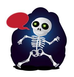 happy cartoon skeleton runs with speech bubble to vector image