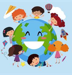 Happy children around the world vector