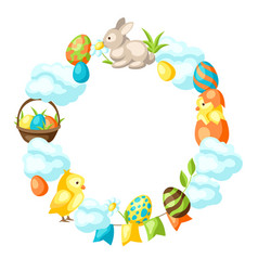 happy easter frame with holiday items vector image