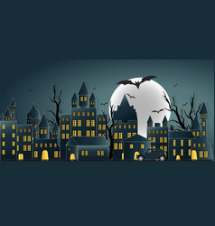 Happy halloween day ghost party with castle on vector