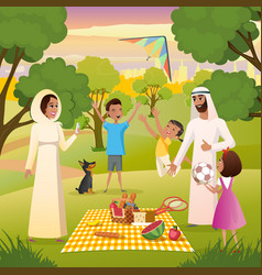 happy muslim family on picnic in city park vector image