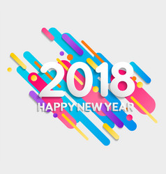 Happy new year 2018 colorful geometry shapes card vector