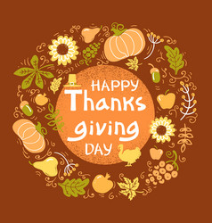 Happy thanksgiving day color card beautiful vector