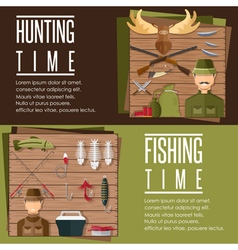 horizontal flat banners on hunting and fishing vector image