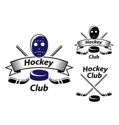 Ice hockey emblems and symbols vector image