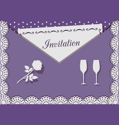 invitation card decorated with lace on background vector image