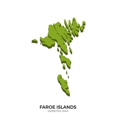 Isometric map of Faroe Islands detailed vector image