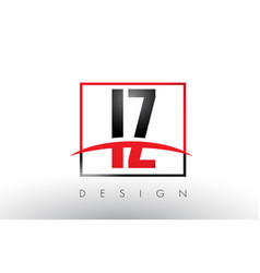 iz i z logo letters with red and black colors and vector image