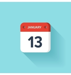 January 13 isometric calendar icon with shadow vector