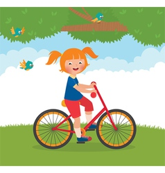 Joyful child rides a bike vector