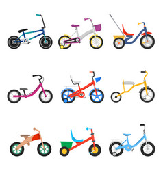 Kids bicycles set vector