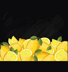 Lemon fruit composition on chalkboard vector