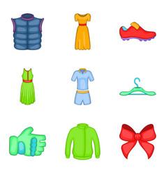 Light summer clothes icon set cartoon style vector