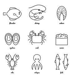 Line art Sea food icon set Infographic elements vector image