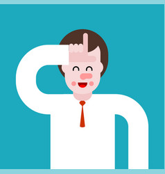 Man showing loser with sign fingers head vector