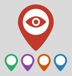 map pointer with eye icon on gray background vector image