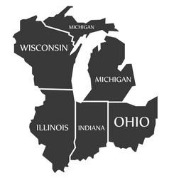 Michigan - wisconsin - illinois - indiana - ohio vector