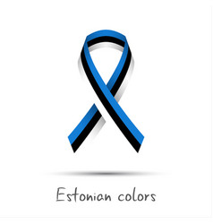 modern colored ribbon with the estonian tricolor vector image
