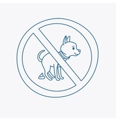 No dog pooping doodle sign vector