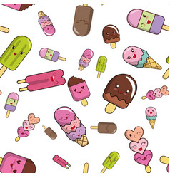 pattern from ice cream without background vector image