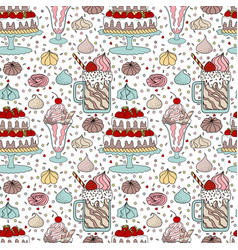 Pattern with dessert vector